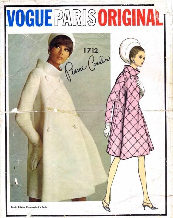 1960's Vogue Paris Orginal 1712 Pierre Cardin Double Breasted Mod Coat Designer Vintage Sewing Pattern Size 14 Bust 34
