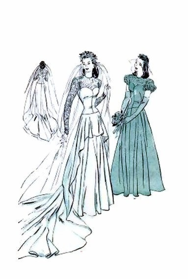1940 39 s butterick 4420 bridal gown pattern cascade drapery for 1940s wedding dress patterns
