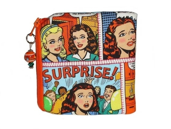 Shipping included in price Comic strip coin purse Lighter color ORANGE ZIPPER