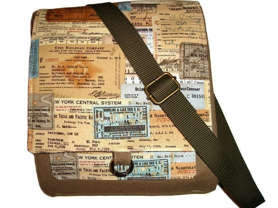 Vintage Train stub Euro style Messenger with 4cm wide accessories straps, your choice of Olive green,  Black, or Brown(cotton) STRAPS  Bronze or silver metal accessories