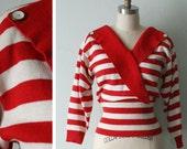 Vintage 1980s Red Striped Sailor Sweater Size Medium Large