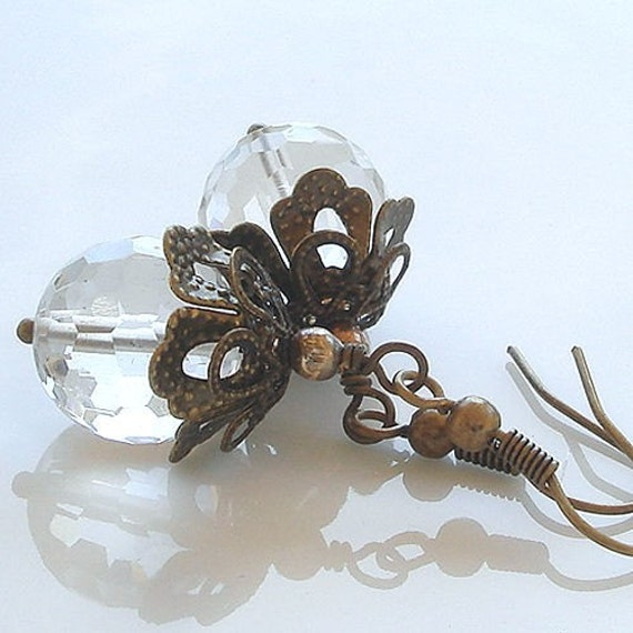 ICE - Artisan Handmade Rock Crystal Gemstone Earrings with Brass  -  SRAJD