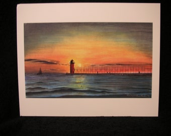 Michigan Lighthouse Limited Edition Print; Colored Pencil Limited Edition Print South Haven Lighhouse; South Haven Lighthouse Print