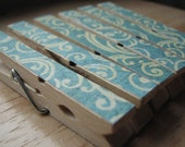Set of 6 - Decoupaged Clothespin Clips - Pretty Blue Turquoise Swirls
