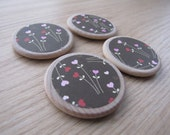 Set of 4 - Wooden Disk Super Strong Magnets OR Push Pins - Heart Wild Flowers
