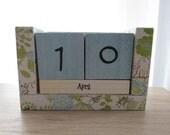 Perpetual Wooden Block Calendar - Spring Awakening - Dandelions and Bunnies