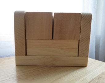 Blank Perpetual Wooden Block Calendar - Month and Day - Nekkid Wood - Rounded Edge