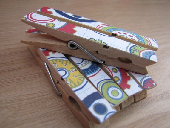 Decorative Clothespin Party Clips - Multi Bright Cogs and Wheels - Set of 6