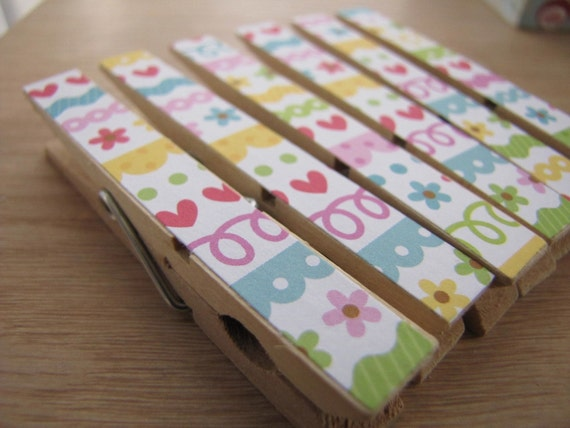 Set of 6 - Decoupaged Clothespins Clips - Colorful Stripes and Flowers and Hearts and Loops