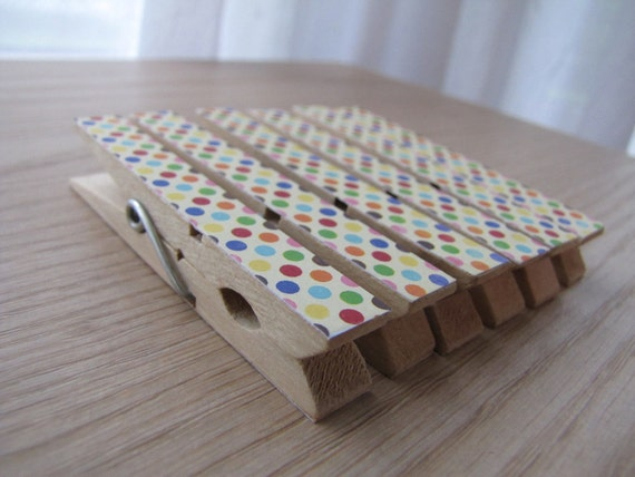 Decoupaged Clothespin Clips - Colorful Polka Dot Confetti - Set of 6