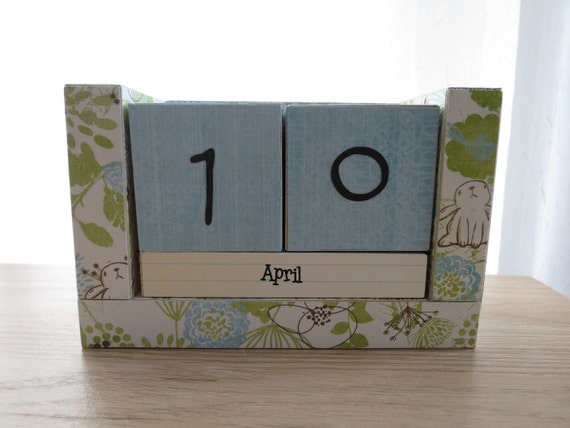 Perpetual Wooden Block Calendar - Spring Awakening - Dandelions and Bunnies