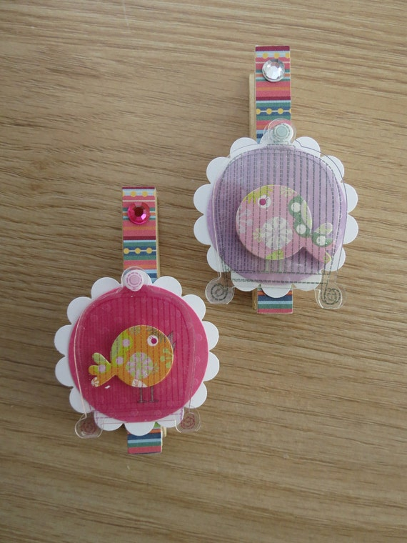 FREE SHIPPING Magnets - Set of 2 - Decoupaged Clothespin Clips - Birds in Cages - Purple and Pink