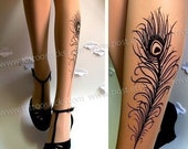 xs-s-m PEACOCK FEATHER TATTOO gorgeous thigh-high stockings LIGHT MOCHA