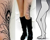 Large/Extra Large sexy MINI and BOOTS peacock FEATHER tattoo tights / stockings/ full length / pantyhose / nylons Light Mocha