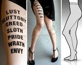 SMALL/MEDIUM sexy 7 Deadly Sins tattoo tights / stockings/ full length / pantyhose / nylons Light Mocha