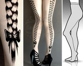 L/XL sexy Rapunzel tattoo full length tights / stockings / pantyhose / nylons white