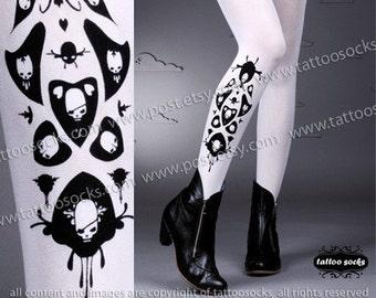 sexy SKULLS and HEARTS TATTOO thigh-high socks white