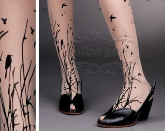 fabulous FOREST SYMPHONY tattoo thigh-high nylons Light Mocha
