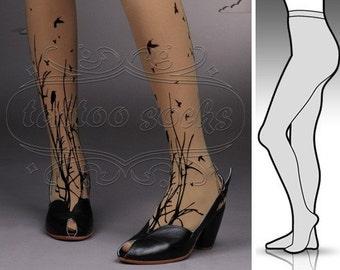 small/medium fabulous Forest Symphony tattoo stockings / full length / pantyhose / nylons CAFE LATTE