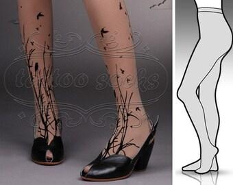 large/extra large fabulous FOREST SYMPHONY tattoo stockings / full length / pantyhose / nylons Deep Mocha