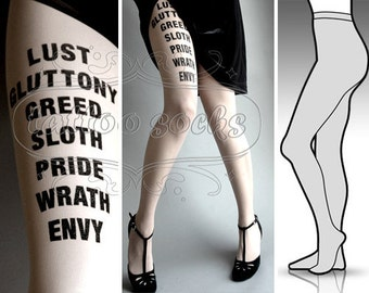 s/m sexy 7 Deadly Sins tattoo tights / stockings / full length / pantyhose / nylons WHITE