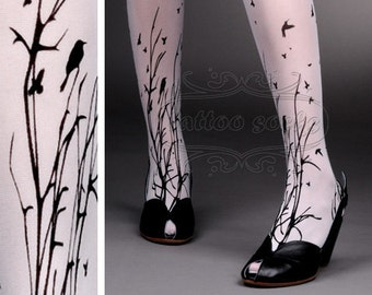 fabulous FOREST SYMPHONY tattoo thigh-high nylons WHITE