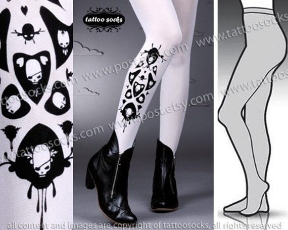 Large/ Extra Large sexy SKULLS and HEARTS tattoo tights / stockings / full length / pantyhose / nylons WHITE