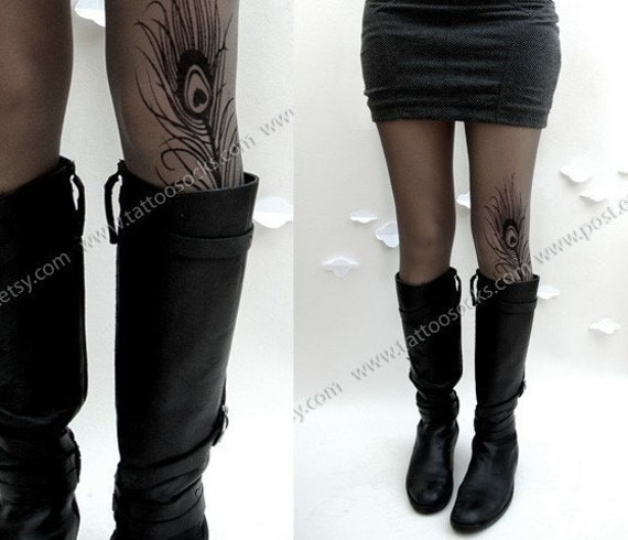 grey sexy MINI and BOOTS peacock FEATHER tattoo thigh high stockings / nylons