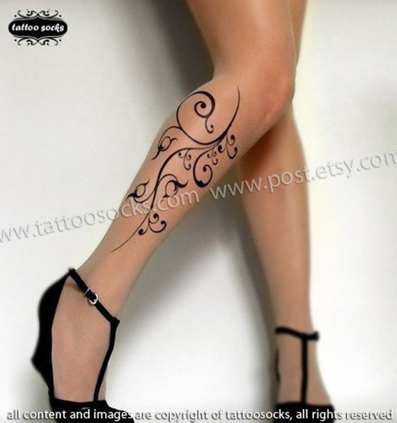 sexy FLORA TATTOO thigh-high socks Light Mocha XS/S/M