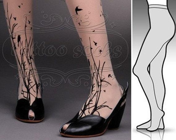 Large/Extra Large fabulous FOREST SYMPHONY tattoo stockings/ full length / pantyhose / nylons Light Mocha