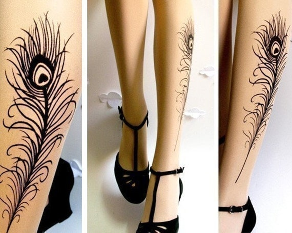 Sexy PEACOCK FEATHER TATTOO gorgeous thigh-high socks Ultra Pale