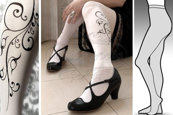 s/m sexy  FLORA tattoo tights / stockings / full length / pantyhose / nylons WHITE