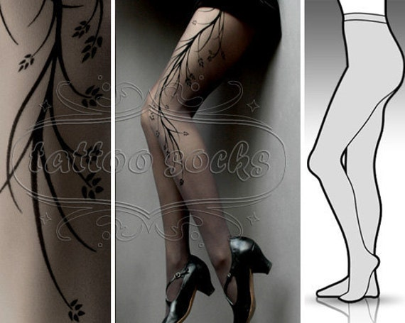 new: Large/Extra Large sexy grey Long Branches tattoo tights / stockings / full length / pantyhose / nylons