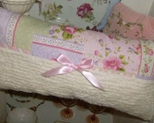Cottage Shabby PINK ROSES CHENILLE PILLOW Chic