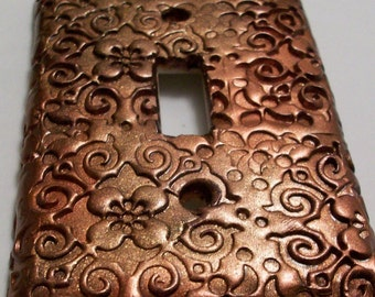 Swirls and flowers Copper light switch cover