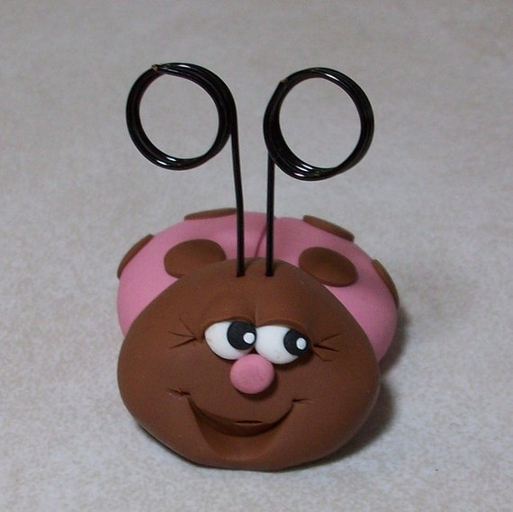 Lady bug place card holder pink and chocolate