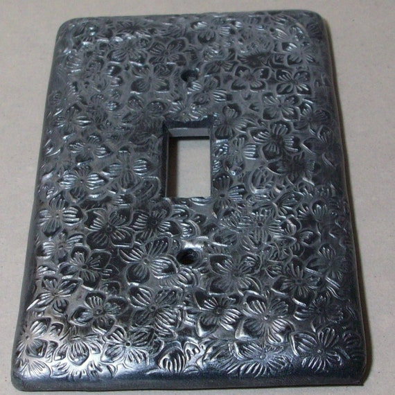 Charcoal and Silver Hydrangea single switch plate