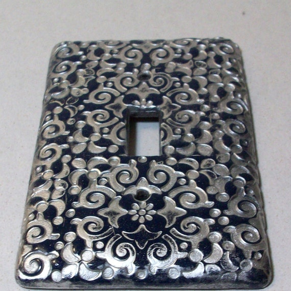 Swirl flowers in navy and silver light switch cover