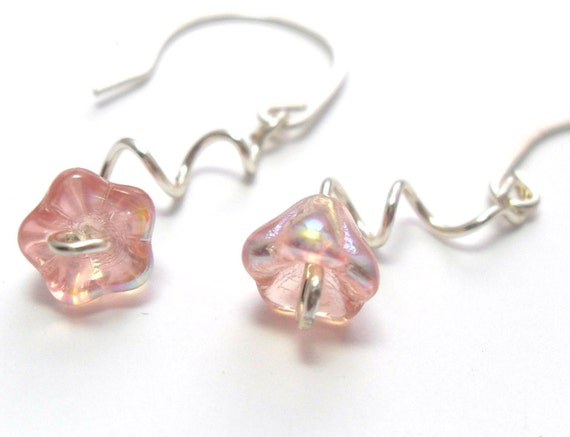 Blush Pink Blossom Flower Silver Earrings