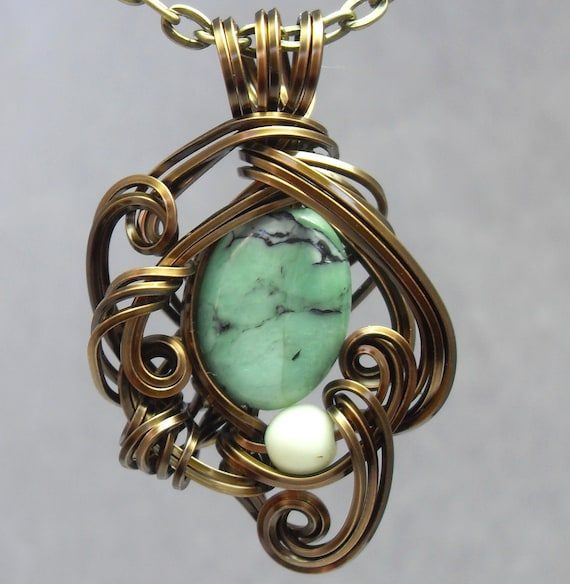 Green Chrysoprase and Bronze Necklace Serpent Inspired