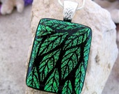 Hand Etched Dichroic Glass Pendant, Green Cascading Leaves