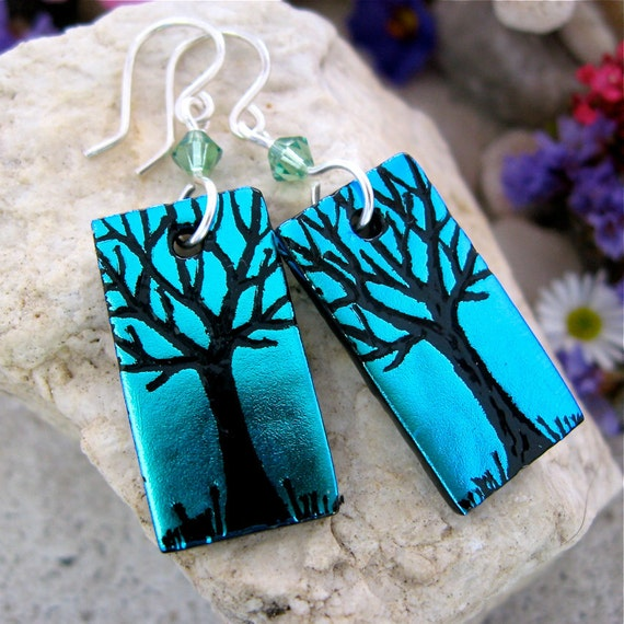 Green Blue Dichroic Earrings, Fused Glass, Hand Etched Trees Swarovski & STERLING SILVER Handmade Wires