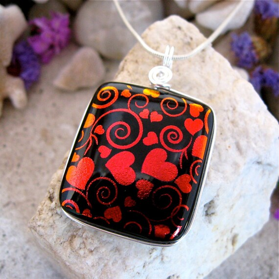Dichroic Glass Pendant Red Swirls & Hearts Silver Wrapped
