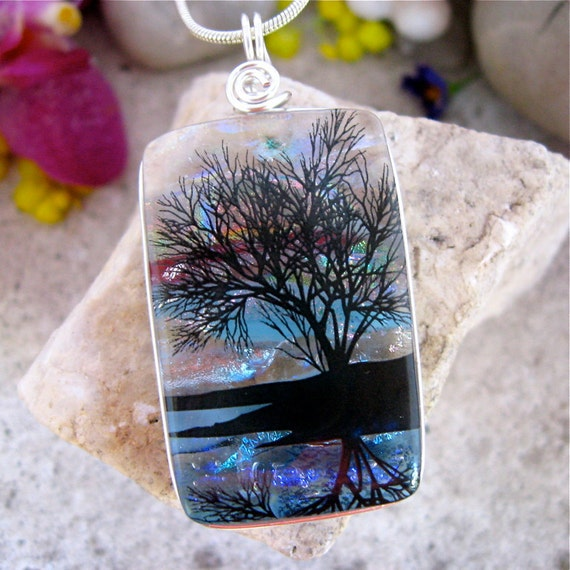 Dichroic Pendant, Fused Dichroic Glass, Tree Reflection, Multilayer Dichroic Glass Necklace