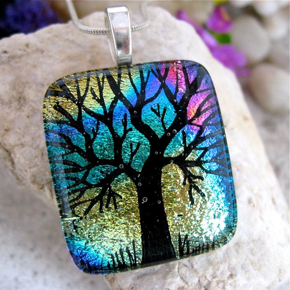 Tree of Life Dichroic Pendant, Rainbow Hand Etched Glass, Fused Glass Jewelry, Unique Dichroic Necklace