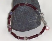 Old Fulani Glass Bracelet - African Trade Bead Bracelet With Sterling Silver