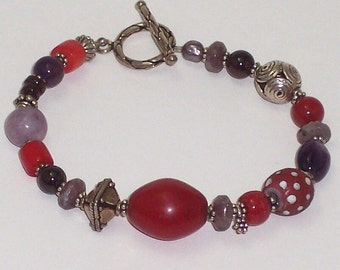 Red and Purple Gemstone Bead Bracelet African Trade Bead and Gemstone Bracelet