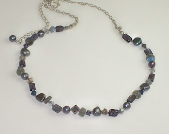 Gemstone Necklace Swarovski Crystal Necklace Sterling Silver Chain Necklace - Midnight Blues