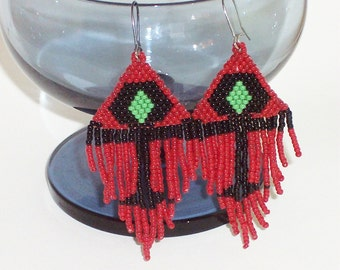 Red Black and Green - Ankh - Handwoven Beaded Earrings