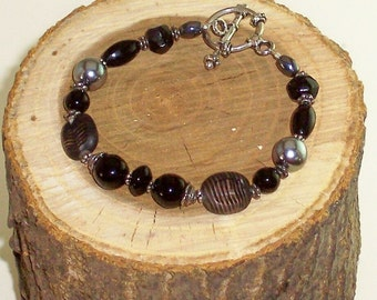 Black Czech Glass and Pearl Bracelet